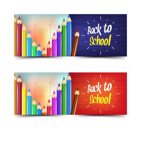 Retour à la collection de bannières d'école avec des crayons de couleur