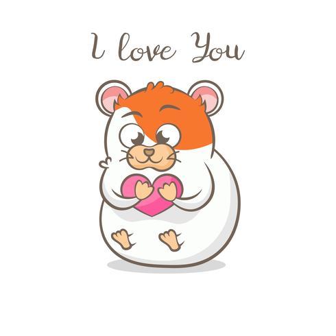Hámster lindo con el corazón. te amo mensaje