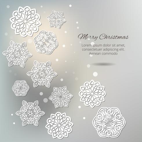 Buon Natale! Fiocchi di neve con ombra su uno sfondo grigio.