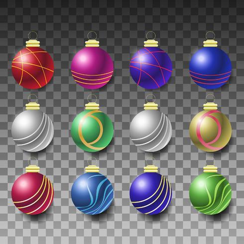 Collection de boules de Noël élégante et réaliste