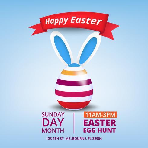 Joli poster pour Easter Egg Hunt avec des oeufs colorés et des oreilles de lapin.