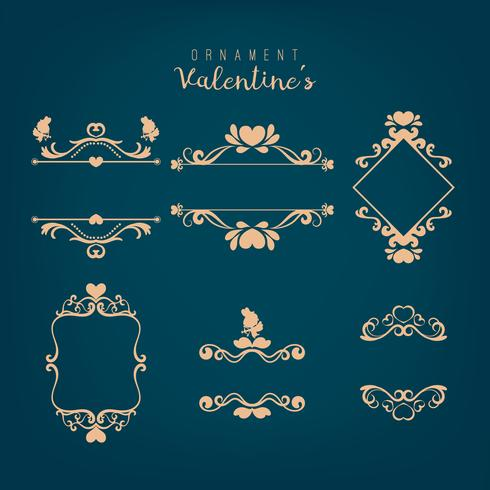 Set de San Valentín con diferentes adornos florales arremolinados.