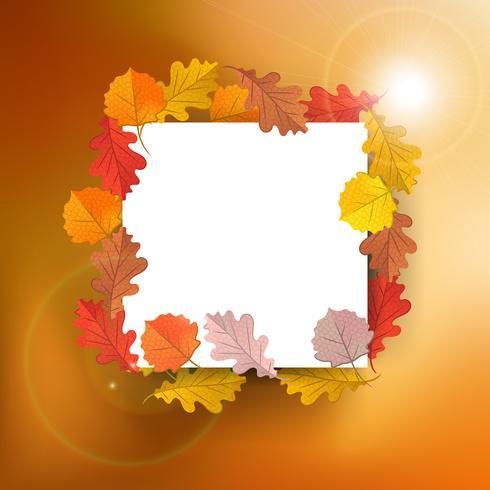 Bianco con foglie di acero autunno su sfondo