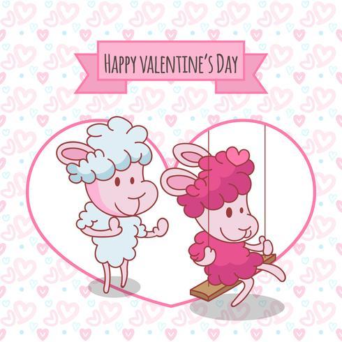 Feliz día de San Valentín. Dos ovejas felices en pose graciosa