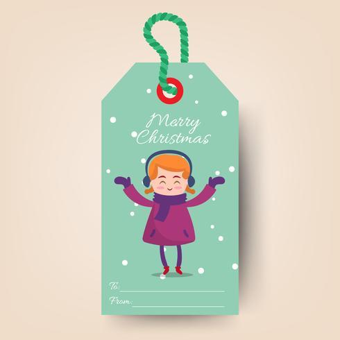 Etiquetas navideñas con niña de dibujos animados
