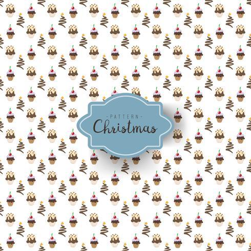 Modello senza cuciture con i cupackes di Natale di diverse forme decorate
