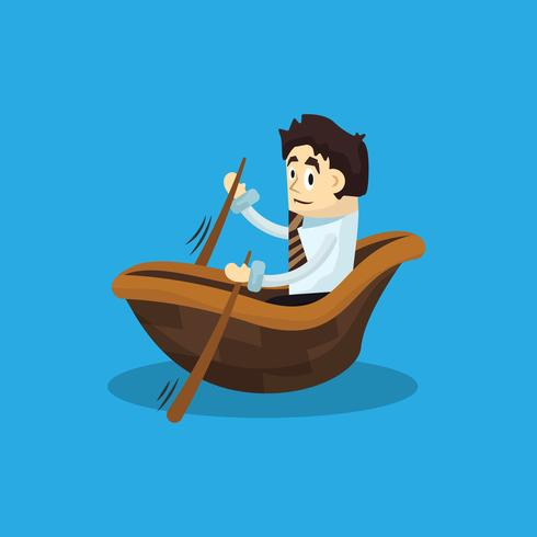 Uomo d'affari con la barca