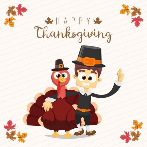 Carte de voeux de Thanksgiving avec un homme et une dinde. Personnage de dessin animé drôle pour les vacances