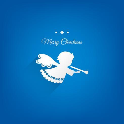 Conception de vecteur de décoration papier ange Noël. Fond bleu