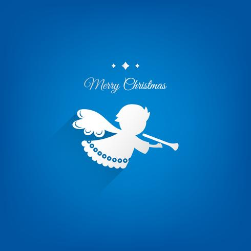 Papper jul ängel dekoration vektor design. Blå bakgrund