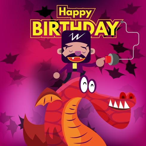 Tarjeta de cumpleaños invitación ilustración de vampiro y dragón