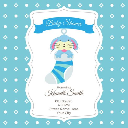 Baby Shower Card Template With Rabbit Download Free Vector Art