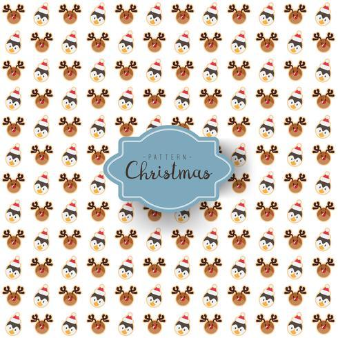 Nahtloses Muster des Festivaldesigns der frohen Weihnachten mit Sankt-Ren und -pinguin