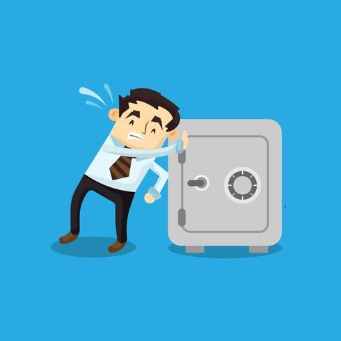 Businessman pushing safebox
