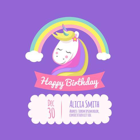 Tarjeta de cumpleaños con unicornio y arco iris.