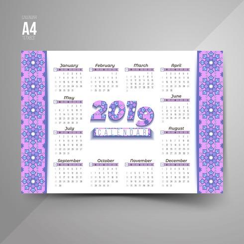 Calendario 2019 con motivi colorati
