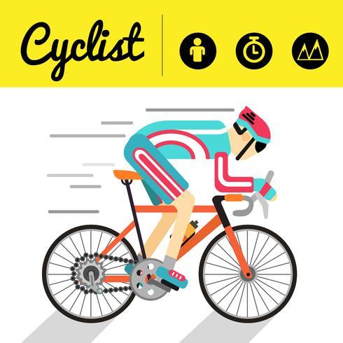 Cyklist banner och infographic ikoner