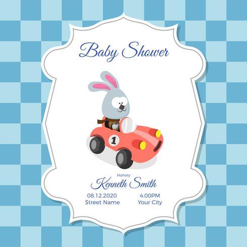 Baby shower kort mall med söt kanin