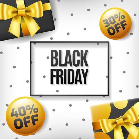 Caja de regalo de viernes negro sobre fondo amarillo
