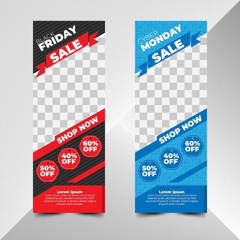 Volantino per la vendita di Black Friday e Cyber Monday in stile piatto