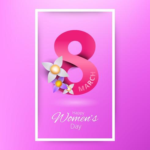 Marzo felice giorno delle donne. Cartolina d'auguri floreale tagliata carta bianca rosa.