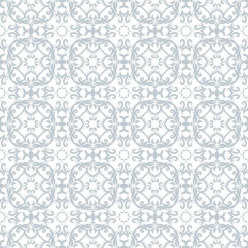 Motivo floreale Wallpaper barocco, damasco. Sfondo vettoriale senza soluzione di continuità. Cielo blu e bianco ornamento