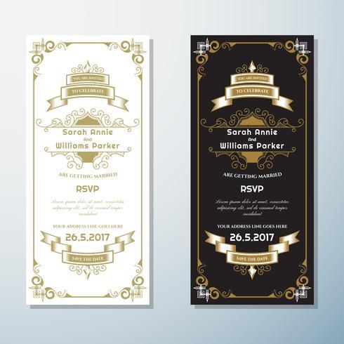 Bröllopsinbjudan Vintage flygblad bakgrund Design mall vektor
