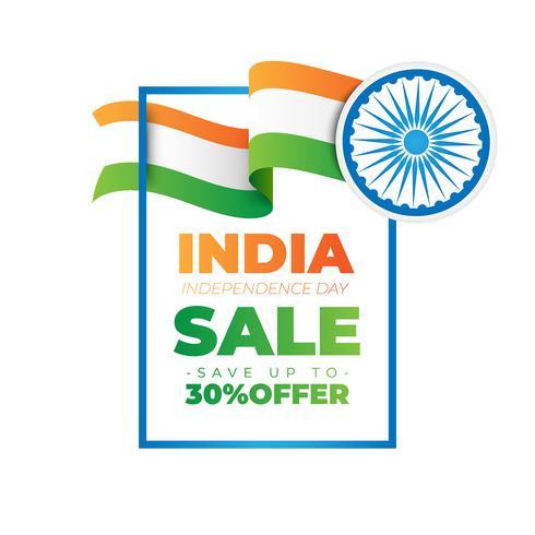 Banner de venta para la celebración del día de la independencia india