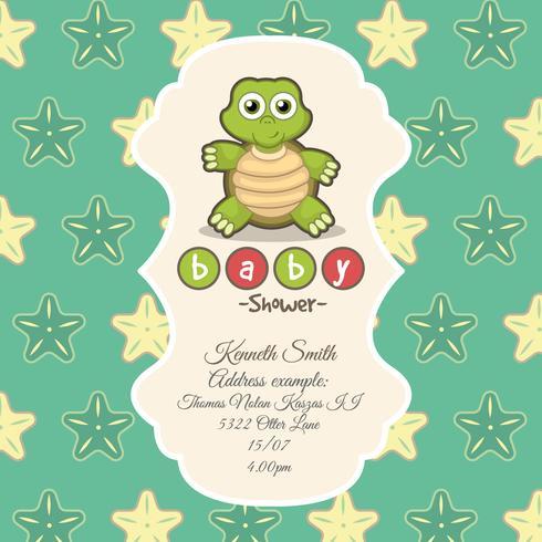 Carte verte pour le shower de bébé avec une tortue mignonne