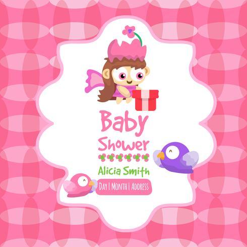 Rose baby shower kaart in schattige stijl