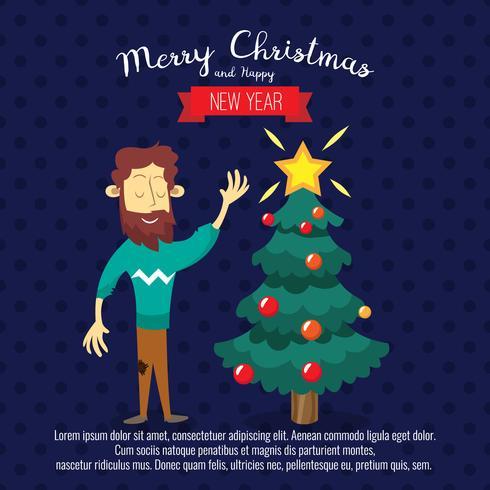 Scheda con albero e uomini di Natale