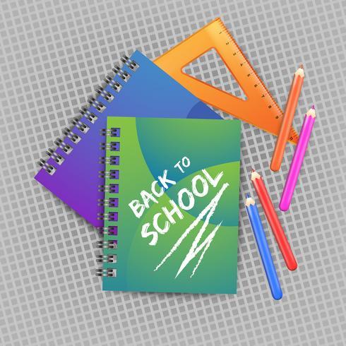 Ritorno a scuola con righello realistico, quaderno e matite