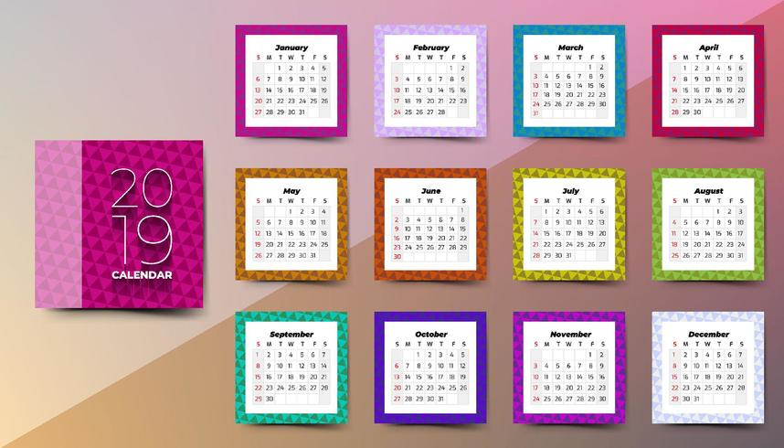 2019 Calendar with triangles pattern