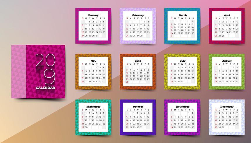 2019 Kalender met driehoeken patroon