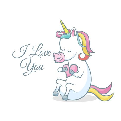 Cute Unicorn With Heart I Love You Message Download