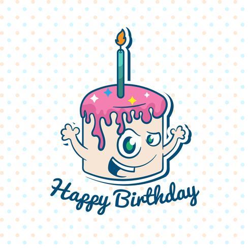 Illustrazione di buon compleanno con torta