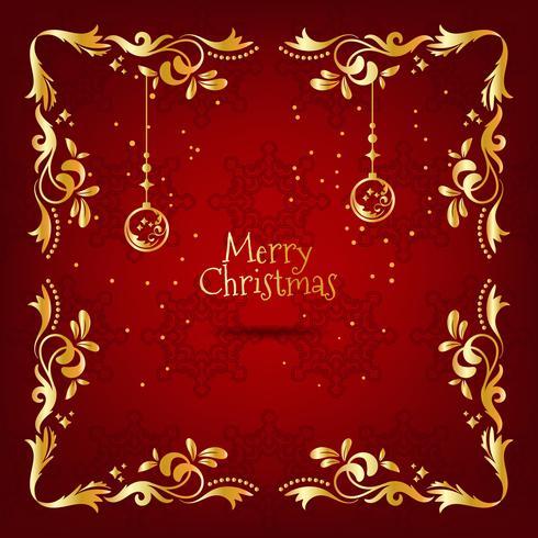 Carte de souhaits vintage de Noël rouge et or avec décoration florale