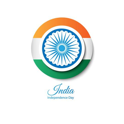 Flag of India in the form of a round button
