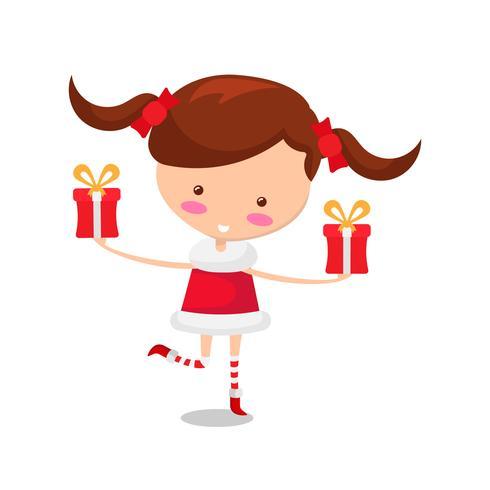 Jolie fille en costume de Noël et cadeau