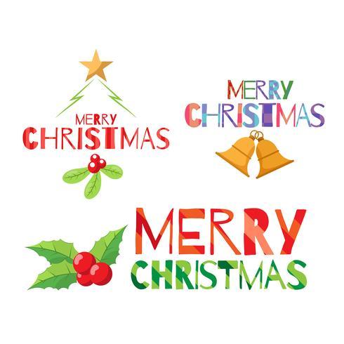 Set av julelement med platt stil
