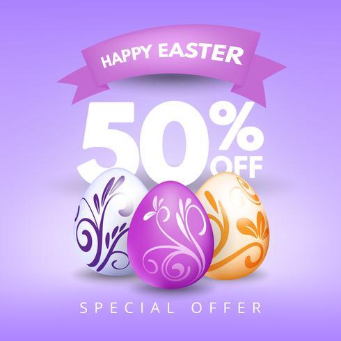 Modèle de fond bannière de vente de Pâques avec de beaux oeufs, ornements décoratifs pourpres colorés.