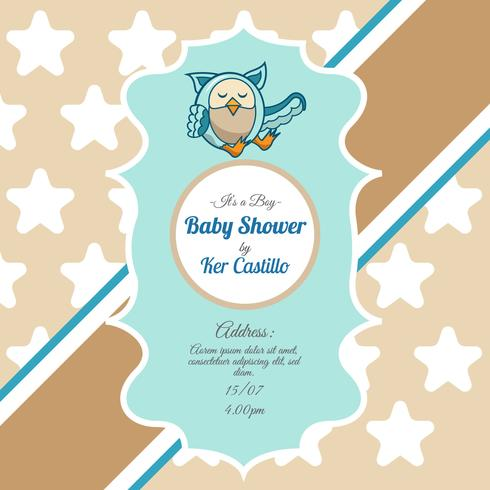 Vintagekort för baby shower med en söt uggla