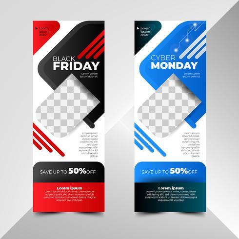 Modelos de banner Black Friday e Cyber Monday Sale