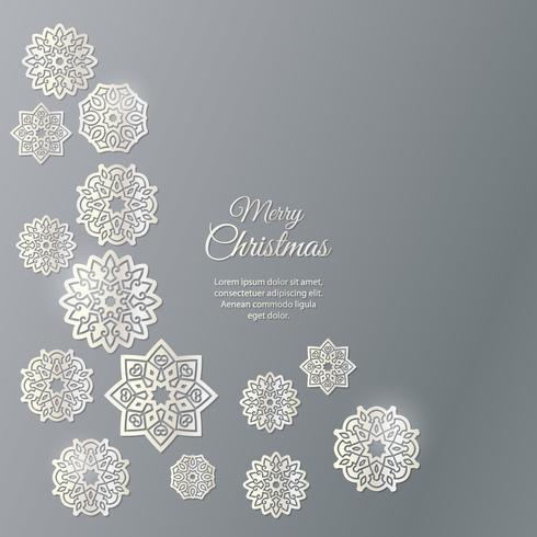 God Jul! Snöflingor med skugga på en grå bakgrund.