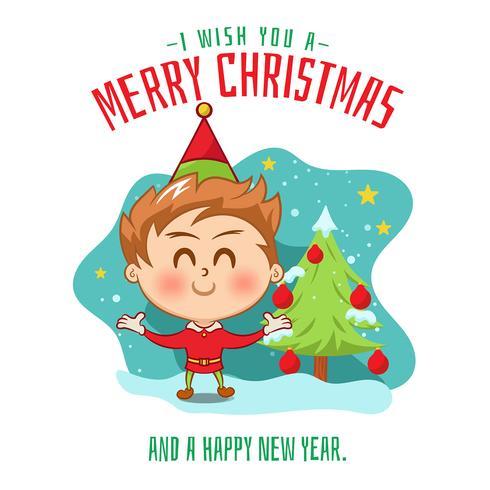 Zeichnung des Kindes mit Weihnachtsbaum