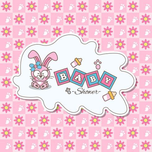 Carte rose pour baby shower avec un lapin mignon
