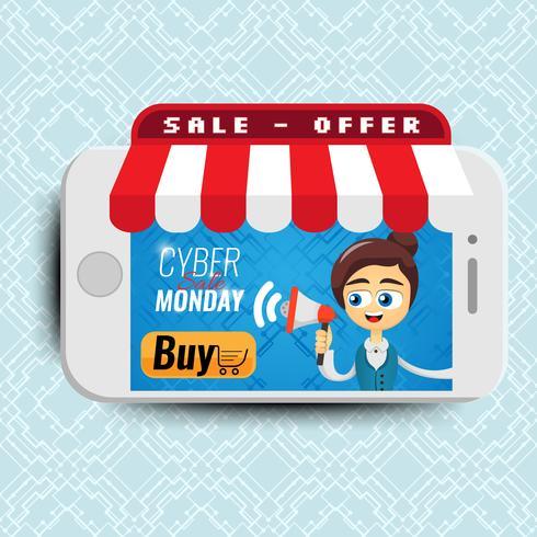 Vector illustratie concept voor online winkel. Digitale marketing. Vrouw met megafoon