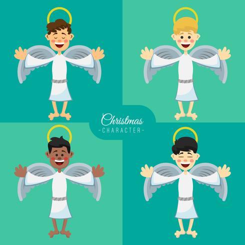 Ilustración de Navidad, los ángeles establecidos