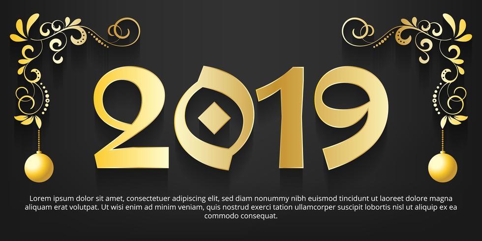 Fondo oro del nuovo anno 2019