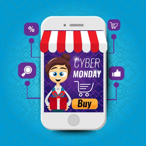 Concept d'illustration vectorielle pour magasin en ligne. Le marketing numérique. Femme avec cadeau
